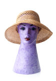 Female summer straw hat on mannequin isolated on white Royalty Free Stock Image