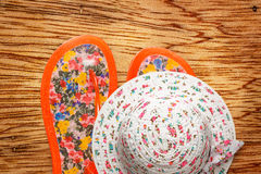 Female sun hat and beach sandals Stock Image