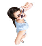 Female with sunglasses isolated on white Stock Image