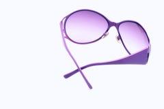 Female sunglasses on white isolated background, pink fashion glamorous sunglasses for the eyes Stock Photos