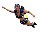 Female super hero in black and blue outfit Stock Photo