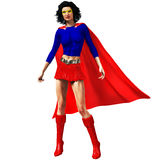 Female Super Hero. A Female Super Hero poses in an iconic blue and red outfit Royalty Free Stock Images