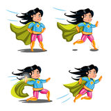 Female superhero action poses collection. Royalty Free Stock Image