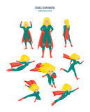 Female superhero in different situations and poses, in costume. Royalty Free Stock Photos