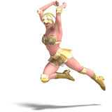 Female superhero with green gold outfit Stock Images