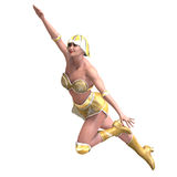 Female superhero with green gold outfit Stock Photography
