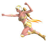 Female superhero with green gold outfit Stock Photo