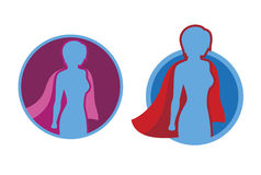 Female Superhero icon - vector silhouette. Female superhero icon - vector superhero silhouette wearing red cloak flying on wind Royalty Free Illustration