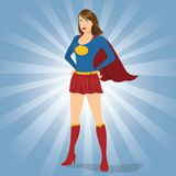 Female Superhero Standing with Pride and Confident. Illustration of female superhero standing Royalty Free Stock Images