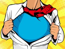 Female superhero. Young woman dressed in white jacket shows superhero t-shirt. Vector illustration in retro pop art c