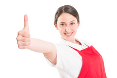 Female supermarket employee showing like Royalty Free Stock Image