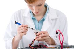 Female support computer engineer - woman repair. Female support computer engineer - IT woman repair defect Stock Photos
