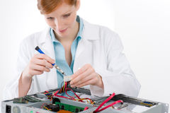 Female support computer engineer - woman repair Stock Photo