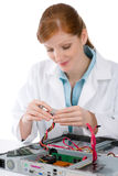 Female support computer engineer - woman repair Royalty Free Stock Images