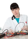 Female support computer engineer Royalty Free Stock Image