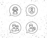 Female Support, Group and Search Profile icons. Speech bubbles with signs. Female Support, Group and Search Profile line icons. User protection sign. Grunge Royalty Free Stock Image