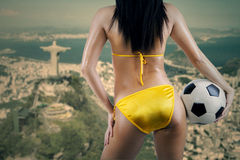 Female supporter looking at rio de janeiro Stock Images
