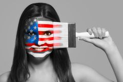 Female in national colors of the United States of Amer Royalty Free Stock Photo