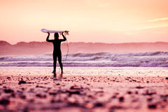Female surfer. On the beach at the sunset Stock Image