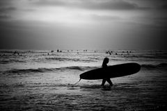 Female Surfer on the Beach. A black and white image of a female surfer searching for an area to surf Stock Image