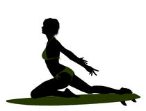 Female Surfer Silhouette Illustration Royalty Free Stock Image