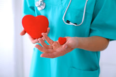 Female surgeon doctor with stethoscope holding heart. Female surgeon doctor with stethoscope holding heart stock photo