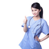 Female surgeon doctor thumb up Royalty Free Stock Photos