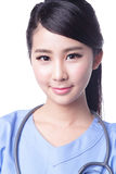 Female surgeon doctor. Woman isolated on white background, asian Stock Photos