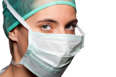Female Surgeon with face mask Stock Image