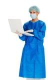 Female Surgeon Holding Laptop Stock Photography