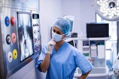 Female surgeon reading x-ray Royalty Free Stock Image