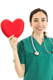 Female surgeon showing heart Royalty Free Stock Photo