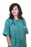 Female surgeon smiling. On white background Stock Image