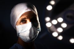 Female surgeon standing at operation room. Portrait of a Caucasian female surgeon looking at the camera in the operation room in hospital royalty free stock image