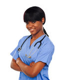 Female surgeon with stethoscope Stock Photo
