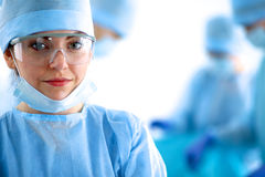 Female surgery in the operating room Stock Photo