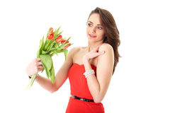 Female surprised with red flowers, isolated Royalty Free Stock Image