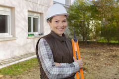 Female surveyor at construction site outdoors Royalty Free Stock Photos