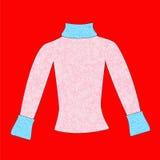Female sweater. Elegant female jacket on a red background. An illustration Stock Photo