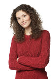 Female in sweater with folded hands royalty free stock images