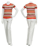 Female sweater on mannequin. On white background royalty free stock image
