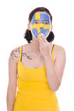Female swedish soccer fan with a whistle Stock Photography