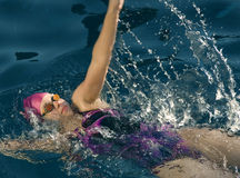 Female Swimmer back stroke Stock Photos