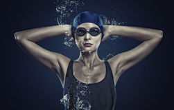 Female swimmer. Concept image Royalty Free Stock Photo