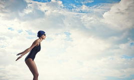 Female swimmer. Concept image Stock Photos