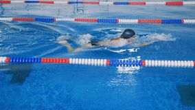 A female swimmer moves under the water surface. An athletic woman swims for several strokes under the transparent water in a slow motion stock footage