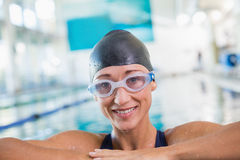 Female swimmer in pool at leisure center Royalty Free Stock Images