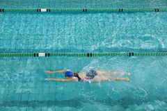 Female swimmer training by herself Royalty Free Stock Images