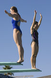 Female Swimmers On Diving Board. Full length of female swimmers standing on the edge of springboard Royalty Free Stock Images