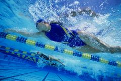Female Swimmers Gushing. Low angle view of female swimmers gushing through water in pool royalty free stock images